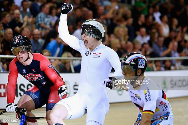 Joachim Eilers of Germany celebrates winning the final of the Mens Keirin during the 2015 UCI Track Cycling World Cup on December 5 2015 in Cambridge...