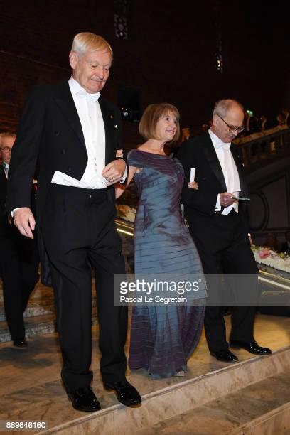 Joachim Frank laureate of the Nobel Prize in chemistry Professor Laurel Eckhardt and Rainer Weiss laureate of the Nobel Prize in physics attend the...