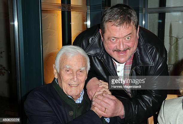 Joachim Fuchsberger and Joseph Hannesschlaeger attend the Tuscan Wine Festival at Gruenwalder Einkehr on November 19 2013 in Munich Germany