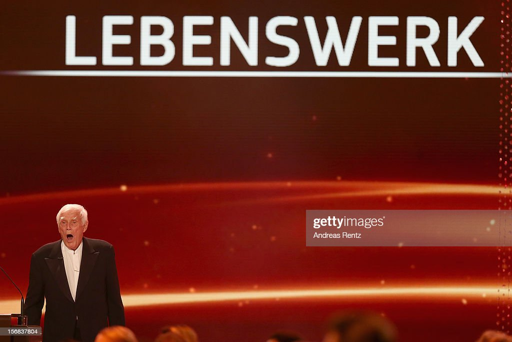 Joachim Fuchsberger receives his Bambi 'Lifetime Achievement' during the 'BAMBI Awards 2012' at the Stadthalle Duesseldorf on November 22, 2012 in Duesseldorf, Germany.