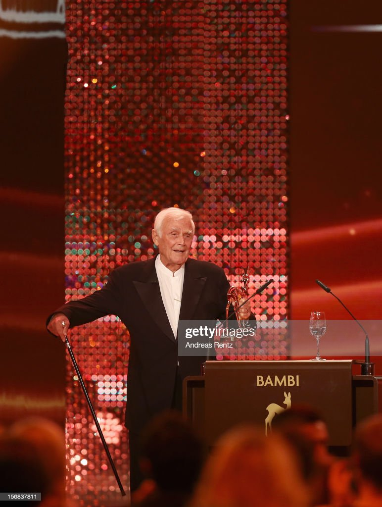 <a gi-track='captionPersonalityLinkClicked' href=/galleries/search?phrase=Joachim+Fuchsberger&family=editorial&specificpeople=2134081 ng-click='$event.stopPropagation()'>Joachim Fuchsberger</a> receives his Bambi 'Lifetime Achievement' during the 'BAMBI Awards 2012' at the Stadthalle Duesseldorf on November 22, 2012 in Duesseldorf, Germany.