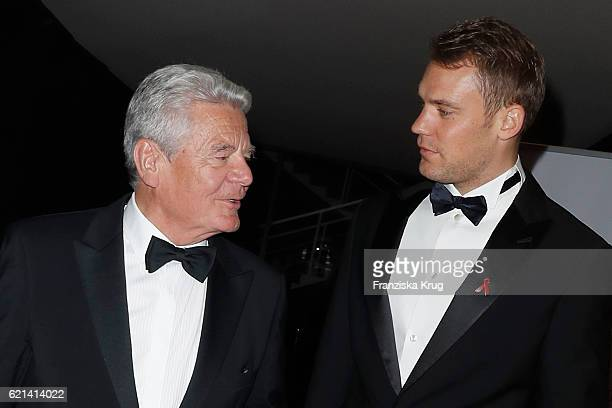 Joachim Gauck and Manuel Neuer goal keeper FCBayern arrive at the 23rd Opera Gala at Deutsche Oper Berlin on November 5 2016 in Berlin Germany