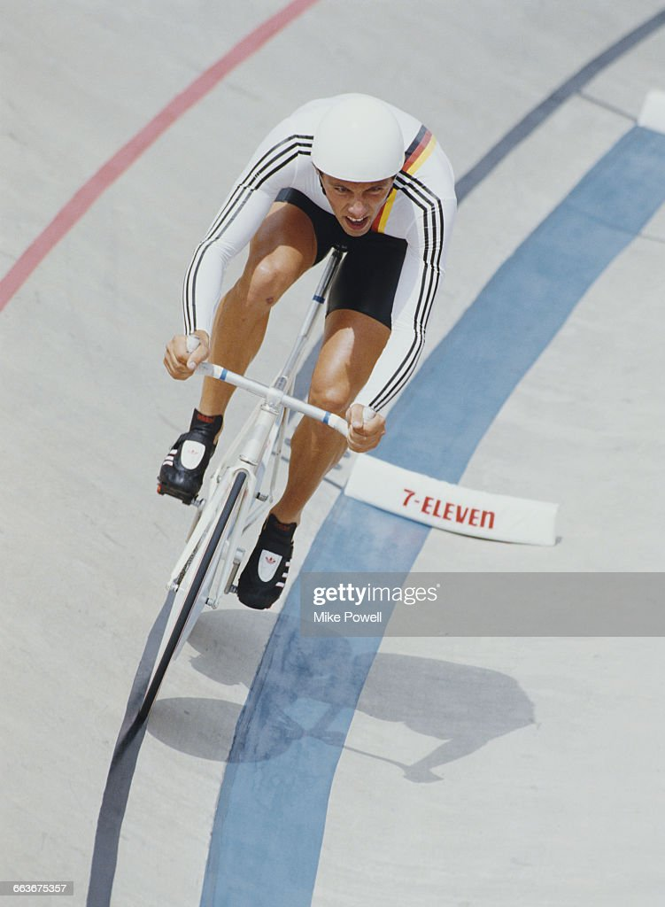 Joachim Hillenbrand of West Germany competes in the Men's Individual Pursuit race during the World Cycling Championship on 6 September 1986 at the...