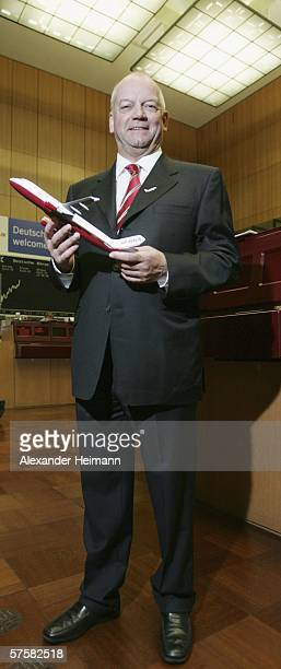 Joachim Hunold the head of the German airline company 'Air Berlin' poses during the company's Initial Public Offering at the Frankfurt stock exchange...