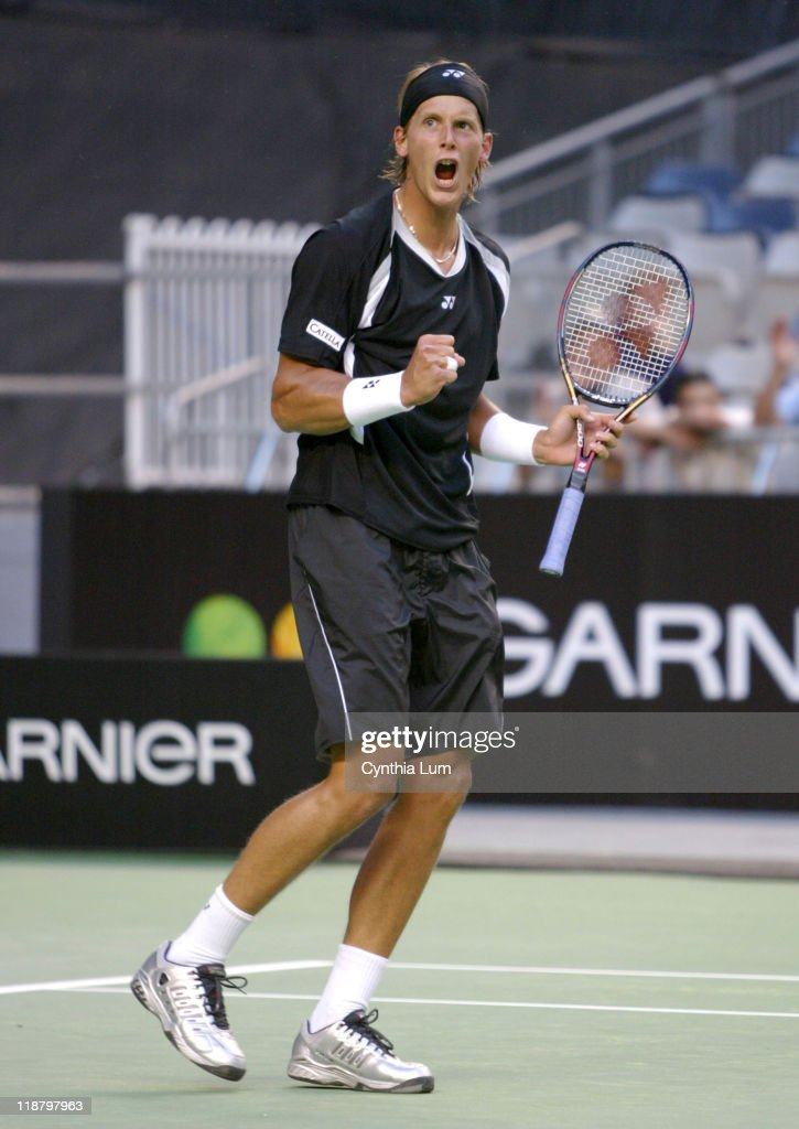 <a gi-track='captionPersonalityLinkClicked' href=/galleries/search?phrase=Joachim+Johansson&family=editorial&specificpeople=169878 ng-click='$event.stopPropagation()'>Joachim Johansson</a> during his 2005 Australian Open third round match against <a gi-track='captionPersonalityLinkClicked' href=/galleries/search?phrase=Feliciano+Lopez&family=editorial&specificpeople=206172 ng-click='$event.stopPropagation()'>Feliciano Lopez</a>. Johansson won 6-3, 3-6, 5-7, 7-6, 13-11.