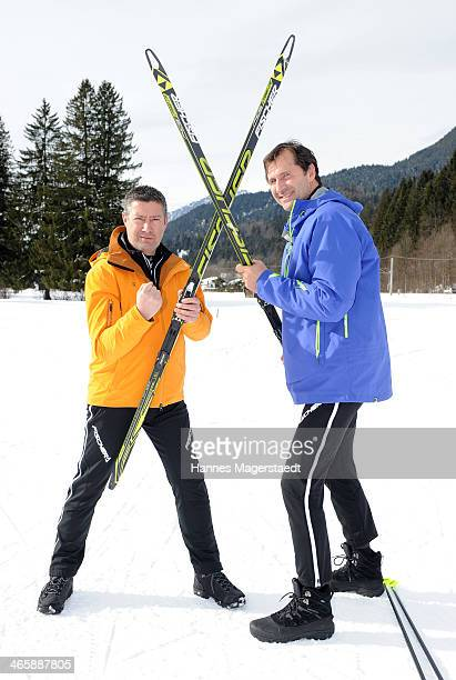 Joachim Llambi and Lars Riedel attend the photocall for the tv show Star Biathlon 2014 on January 30 2014 in GarmischPartenkirchen Germany