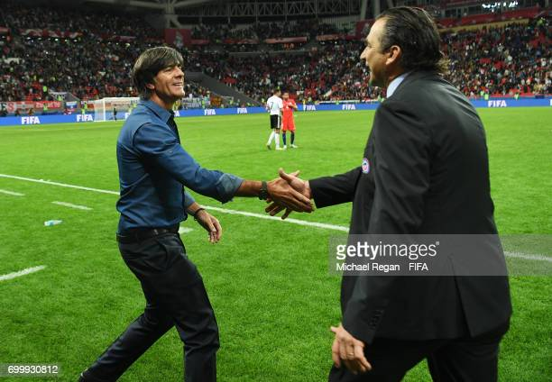 Joachim Loew coacah of Germany and Juan Antonio Pizzi of Chile shake hands after the FIFA Confederations Cup Russia 2017 Group B match between...