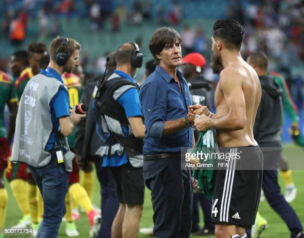 Joachim Loew coach of Germany and Emre Can of Germany embrace after the FIFA Confederations Cup Russia 2017 Group B match between Germany and...