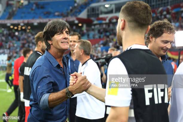 Joachim Loew coach of Germany and Shkodran Mustafi of Germany shake hands after the FIFA Confederations Cup Russia 2017 Group B match between Germany...