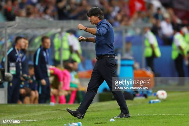 Joachim Loew coach of Germany celebrates during the FIFA Confederations Cup Russia 2017 Group B match between Australia and Germany at Fisht Olympic...