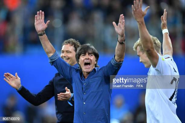 Joachim Loew coach of Germany celebrates victory after the FIFA Confederations Cup Russia 2017 Final between Chile and Germany at Saint Petersburg...