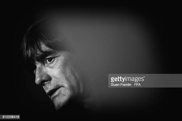 Joachim Loew head caoch of Germany is seen during an interview after the FIFA Confederations Cup Russia 2017 Final match between Chile and Germany at...