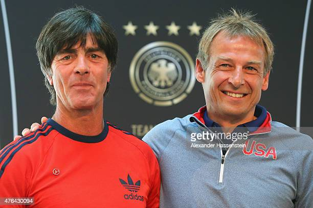 Joachim Loew head coach of German national team attends with Juergen Klinsmann head coach of the US national team a press conference at Mercedes Benz...
