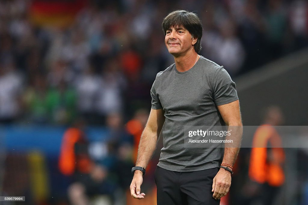 <a gi-track='captionPersonalityLinkClicked' href=/galleries/search?phrase=Joachim+Loew&family=editorial&specificpeople=215315 ng-click='$event.stopPropagation()'>Joachim Loew</a> head coach of Germany celebrates his team's first goal during the UEFA EURO 2016 Group C match between Germany and Ukraine at Stade Pierre-Mauroy on June 12, 2016 in Lille, France.