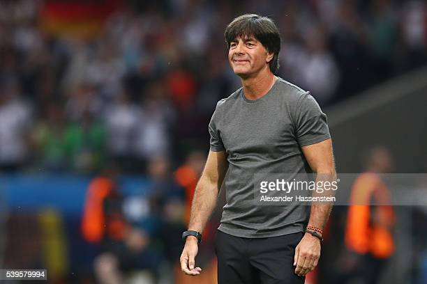 Joachim Loew head coach of Germany celebrates his team's first goal during the UEFA EURO 2016 Group C match between Germany and Ukraine at Stade...
