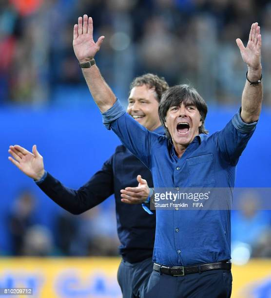 Joachim Loew head coach of Germany celebrates winning during the FIFA Confederations Cup Russia 2017 Final match between Chile and Germany at Saint...