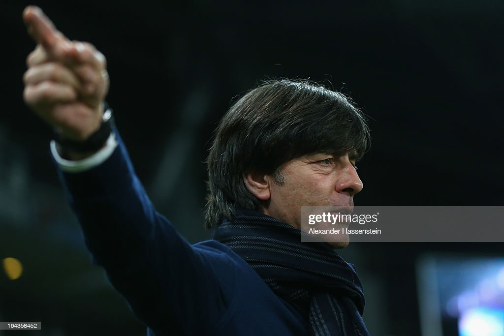 <a gi-track='captionPersonalityLinkClicked' href=/galleries/search?phrase=Joachim+Loew&family=editorial&specificpeople=215315 ng-click='$event.stopPropagation()'>Joachim Loew</a>, head coach of Germany gesture prior the FIFA 2014 World Cup qualifier group C match between Kazakhstan and Germany at Astana Arena on March 22, 2013 in Astana, Kazakhstan.
