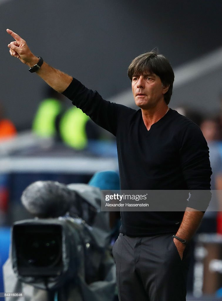 <a gi-track='captionPersonalityLinkClicked' href=/galleries/search?phrase=Joachim+Loew&family=editorial&specificpeople=215315 ng-click='$event.stopPropagation()'>Joachim Loew</a> head coach of Germany gestures during the UEFA EURO 2016 round of 16 match between Germany and Slovakia at Stade Pierre-Mauroy on June 26, 2016 in Lille, France.