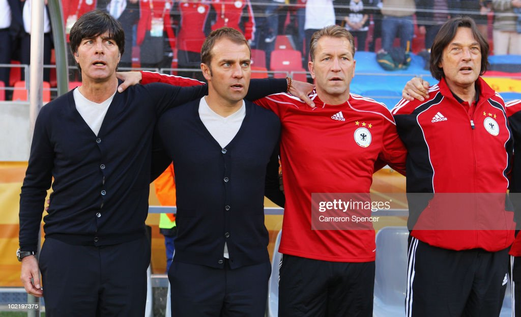 <a gi-track='captionPersonalityLinkClicked' href=/galleries/search?phrase=Joachim+Loew&family=editorial&specificpeople=215315 ng-click='$event.stopPropagation()'>Joachim Loew</a> head coach of Germany, Hans Dieter Flick assistant coach of Germany and coaching staff ahead of the 2010 FIFA World Cup South Africa Group D match between Germany and Serbia at Nelson Mandela Bay Stadium on June 18, 2010 in Port Elizabeth, South Africa.