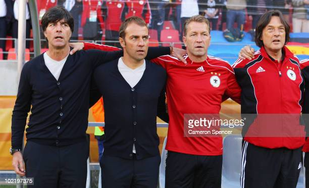 Joachim Loew head coach of Germany Hans Dieter Flick assistant coach of Germany and coaching staff ahead of the 2010 FIFA World Cup South Africa...