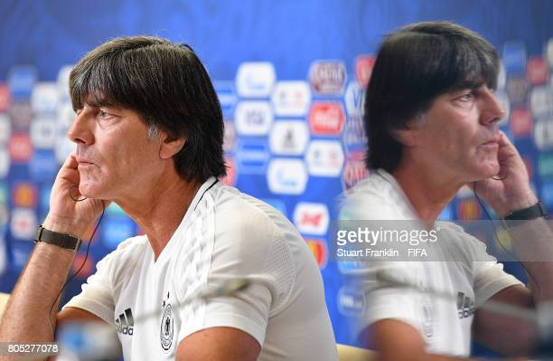 Joachim Loew head coach of Germany looks on during a press conference of the German national football team on July 1 2017 in Saint Petersburg Russia