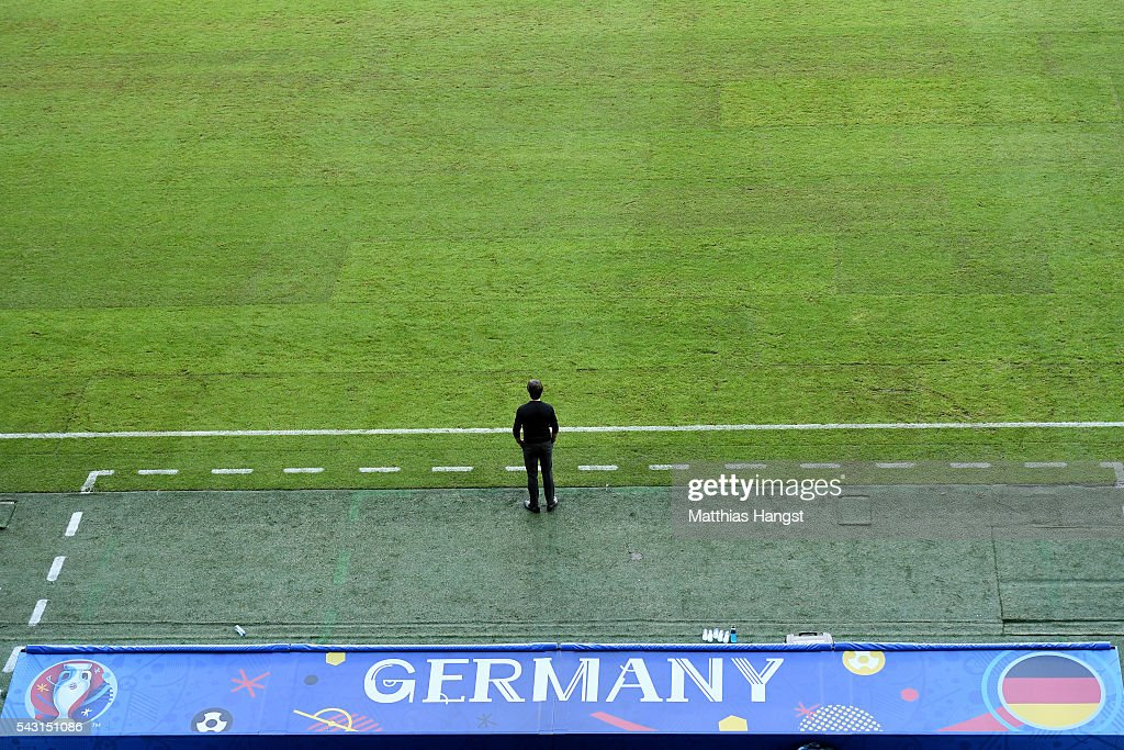 <a gi-track='captionPersonalityLinkClicked' href=/galleries/search?phrase=Joachim+Loew&family=editorial&specificpeople=215315 ng-click='$event.stopPropagation()'>Joachim Loew</a> head coach of Germany looks on during the UEFA EURO 2016 round of 16 match between Germany and Slovakia at Stade Pierre-Mauroy on June 26, 2016 in Lille, France.
