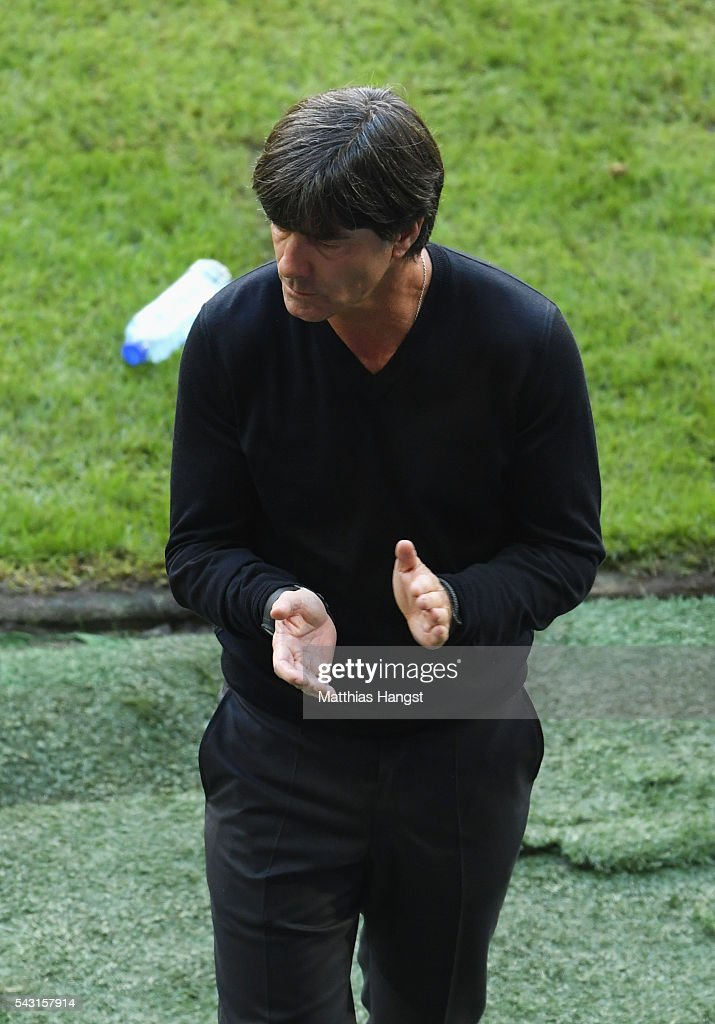 Joachim Loew head coach of Germany looks on during the UEFA EURO 2016 round of 16 match between Germany and Slovakia at Stade Pierre-Mauroy on June 26, 2016 in Lille, France.