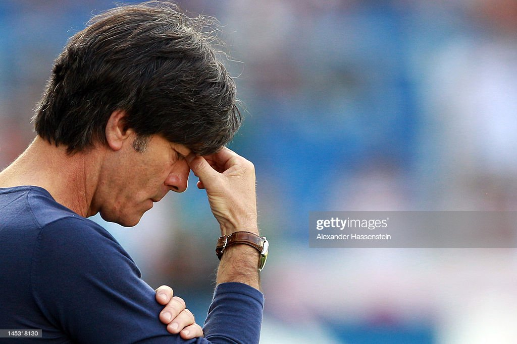 <a gi-track='captionPersonalityLinkClicked' href=/galleries/search?phrase=Joachim+Loew&family=editorial&specificpeople=215315 ng-click='$event.stopPropagation()'>Joachim Loew</a>, head coach of Germany looks on prior the international friendly match between Switzerland and Germany at St. Jakob-Park on May 26, 2012 in Basel, Switzerland.