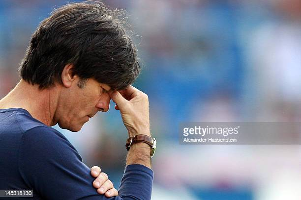 Joachim Loew head coach of Germany looks on prior the international friendly match between Switzerland and Germany at St JakobPark on May 26 2012 in...