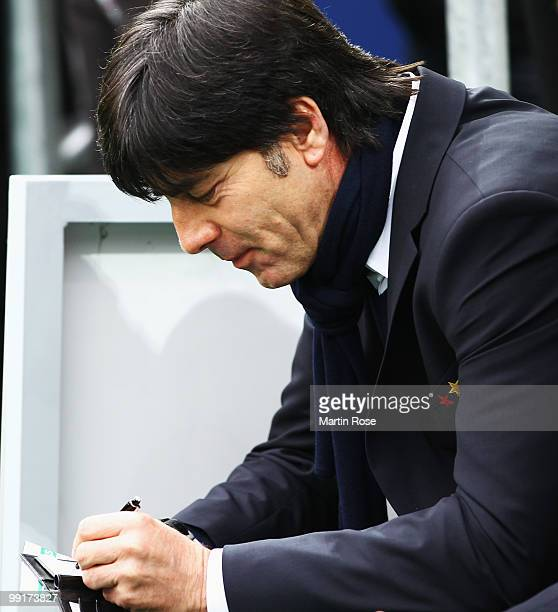 Joachim Loew head coach of Germany looks on prior to the international friendly match between Germany and Malta at Tivoli stadium on May 13 2010 in...