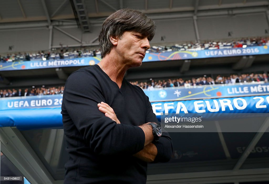 <a gi-track='captionPersonalityLinkClicked' href=/galleries/search?phrase=Joachim+Loew&family=editorial&specificpeople=215315 ng-click='$event.stopPropagation()'>Joachim Loew</a> head coach of Germany looks on prior to the UEFA EURO 2016 round of 16 match between Germany and Slovakia at Stade Pierre-Mauroy on June 26, 2016 in Lille, France.