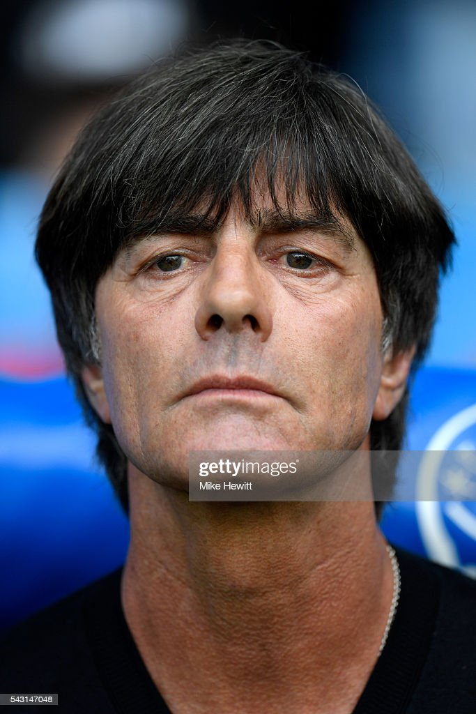 Joachim Loew head coach of Germany looks on prior to the UEFA EURO 2016 round of 16 match between Germany and Slovakia at Stade Pierre-Mauroy on June 26, 2016 in Lille, France.