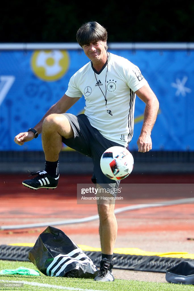 <a gi-track='captionPersonalityLinkClicked' href=/galleries/search?phrase=Joachim+Loew&family=editorial&specificpeople=215315 ng-click='$event.stopPropagation()'>Joachim Loew</a>, head coach of Germany plays with the ball during a Germany training session at Ermitage Evian on June 29, 2016 in Evian-les-Bains, France.