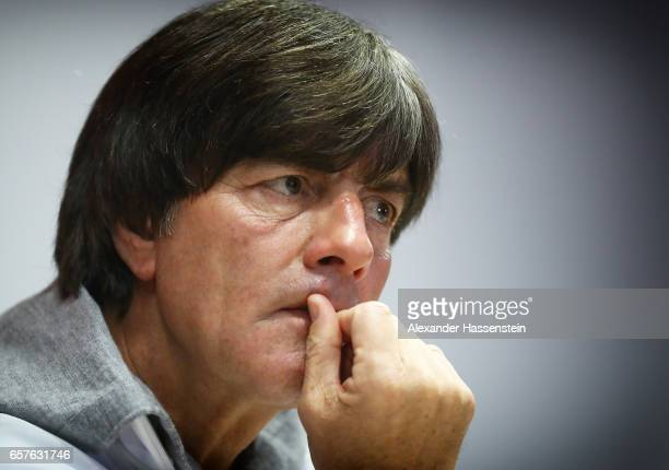 Joachim Loew head coach of Germany ponders a question during the press conference of the German National Football team at Tofiq Bahramov Stadium on...
