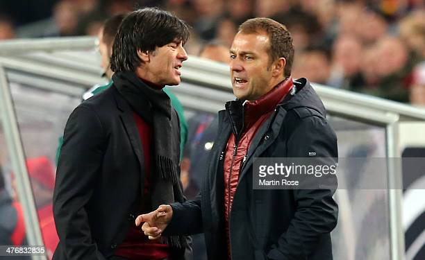 Joachim Loew head coach of Germany reacts during the International Friendly Match between Germany and Chile at MercedesBenz Arena on March 5 2014 in...