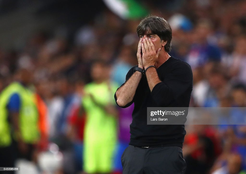 Joachim Loew head coach of Germany reacts on the touchline during the UEFA EURO semi final match between Germany and France at Stade Velodrome on...