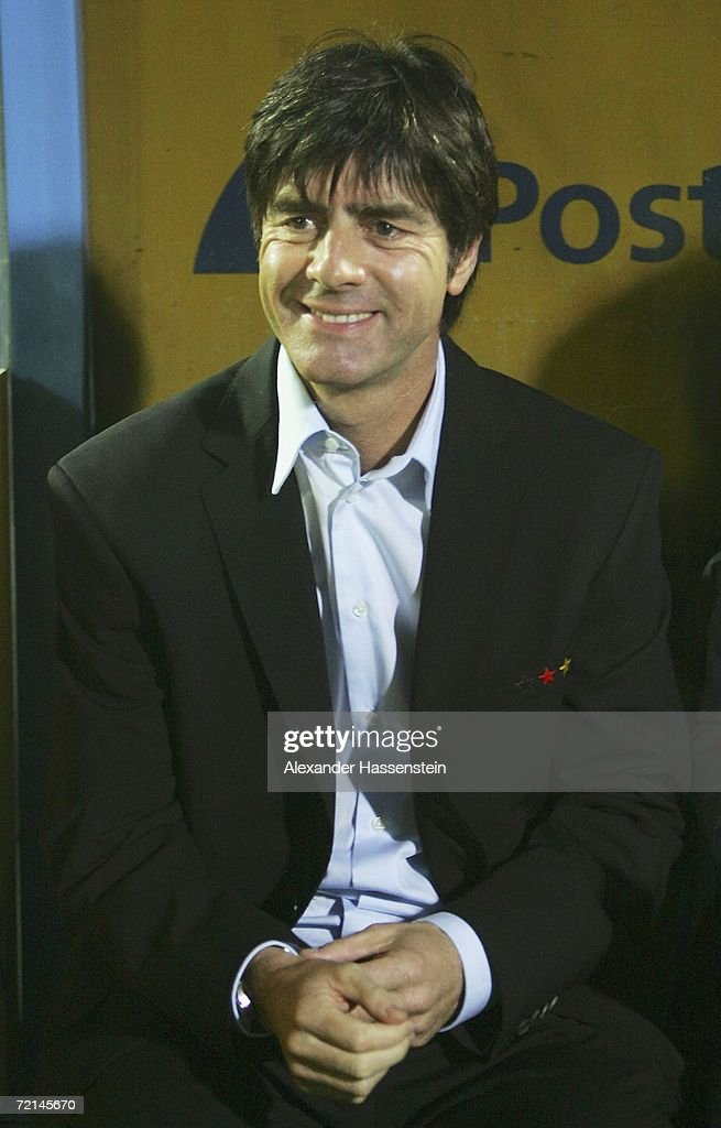 <a gi-track='captionPersonalityLinkClicked' href=/galleries/search?phrase=Joachim+Loew&family=editorial&specificpeople=215315 ng-click='$event.stopPropagation()'>Joachim Loew</a>, head coach of Germany smiles during the UEFA Euro2008 qualifier between Slovakia and Germany at the Tehelne Pole stadium on October 11, 2006 in Bratislava, Slovakia.