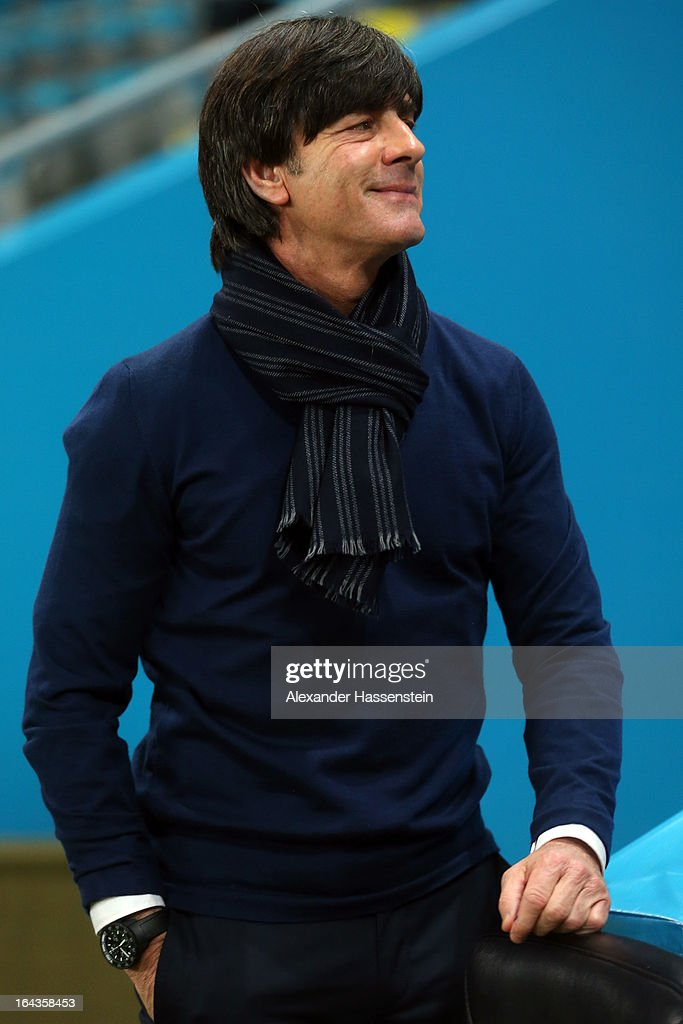 Joachim Loew, head coach of Germany smiles prior the FIFA 2014 World Cup qualifier group C match between Kazakhstan and Germany at Astana Arena on March 22, 2013 in Astana, Kazakhstan.