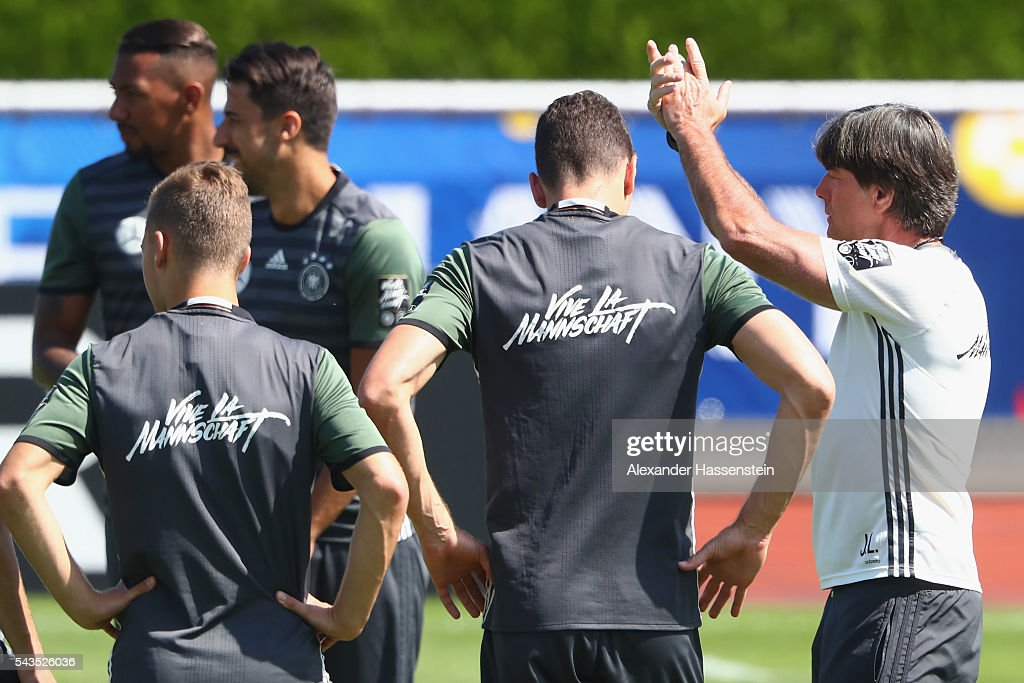 <a gi-track='captionPersonalityLinkClicked' href=/galleries/search?phrase=Joachim+Loew&family=editorial&specificpeople=215315 ng-click='$event.stopPropagation()'>Joachim Loew</a>, head coach of Germany talks to his players during a Germany training session at Ermitage Evian on June 29, 2016 in Evian-les-Bains, France.