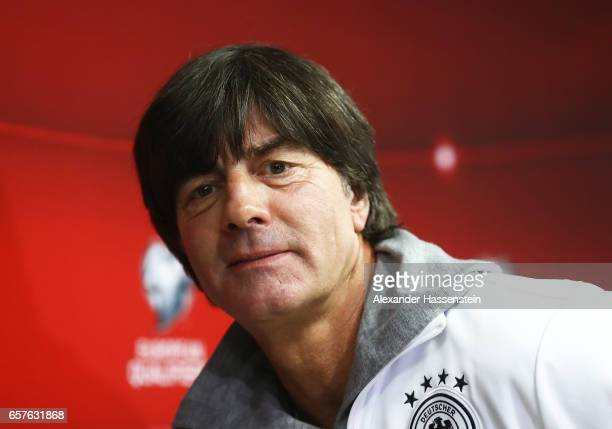 Joachim Loew head coach of Germany talks to the media during the press conference of the German National Football team at Tofiq Bahramov Stadium on...