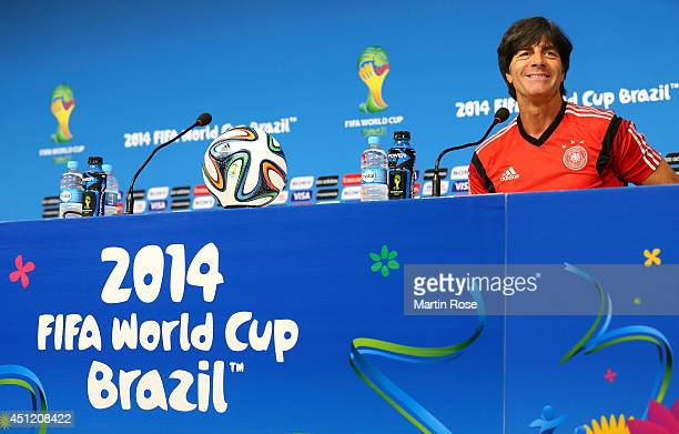 Joachim Loew head coach of Germany talks to the media during the Germany training session ahead of the 2014 FIFA World Cup Group G match between USA...