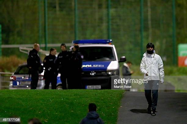 Joachim Loew head coach of Germany walks to the pitch during a Germany training session ahead of their International Friendly match against...