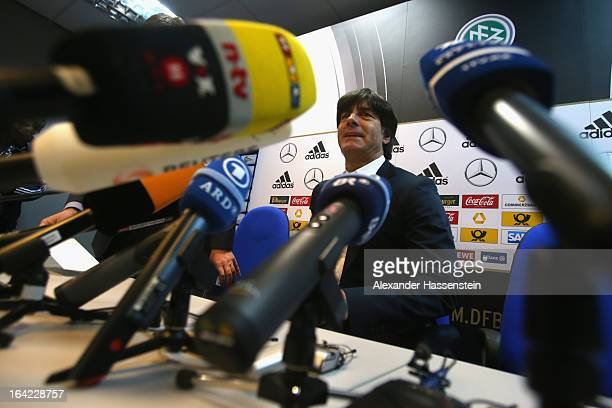 Joachim Loew head coach of the German national football team attends a press conference at Astana arena on March 21 2013 in Astana Kazakhstan