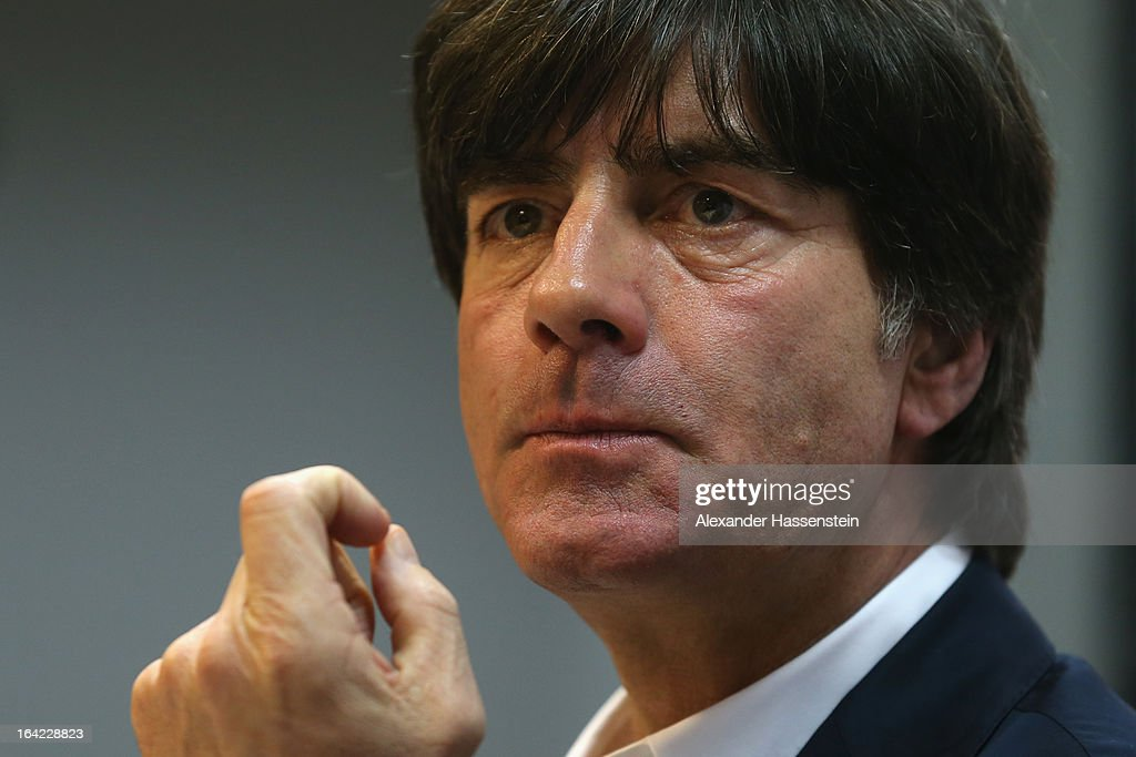 Joachim Loew, head coach of the German national football team attends a press conference at Astana arena on March 21, 2013 in Astana, Kazakhstan.
