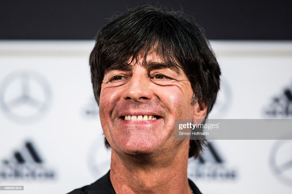 <a gi-track='captionPersonalityLinkClicked' href=/galleries/search?phrase=Joachim+Loew&family=editorial&specificpeople=215315 ng-click='$event.stopPropagation()'>Joachim Loew</a>, head coach of the German national football team, smiles during a press conference to announce the new contract of <a gi-track='captionPersonalityLinkClicked' href=/galleries/search?phrase=Joachim+Loew&family=editorial&specificpeople=215315 ng-click='$event.stopPropagation()'>Joachim Loew</a> at DFB Headquarters on March 13, 2015 in Frankfurt am Main, Germany.