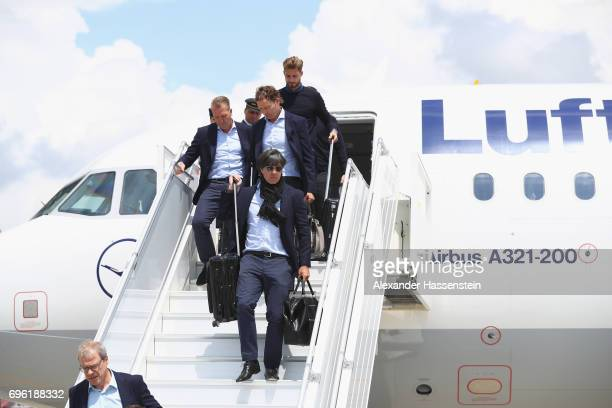Joachim Loew head coach of the German national team arrive at Sochi International Airport for the FIFA Confederations Cup Russia 2017 on June 15 2017...