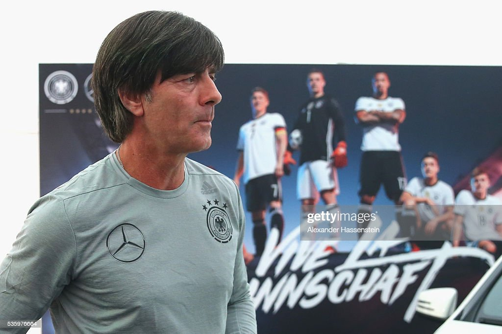 Joachim Loew, head coach of the German national team arrives for a press conference on day 8 of the German national team trainings camp on May 31, 2016 in Ascona, Switzerland.