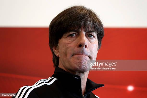 Joachim Loew head coach of the German national team arrives for a press conference of the German national team ahead of the FIFA 2018 World Cup...