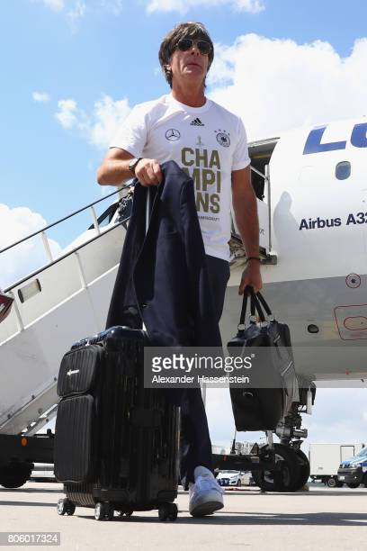 Joachim Loew head coach of the German national team arrives with his team at Frankfurt am Main International Airpoport on July 3 2017 in Frankfurt am...