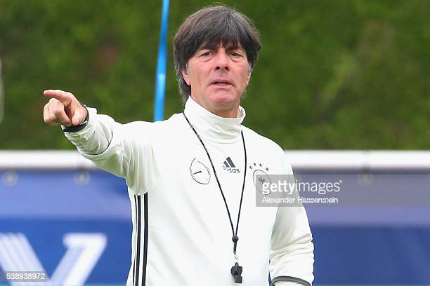 Joachim Loew head coach of the German national team gives instructions during a Germany training session ahead of the UEFA EURO 2016 at Ermitage...